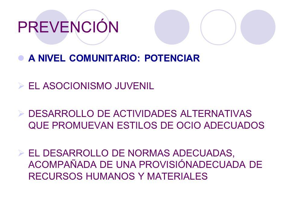 PREVENCIÓN A NIVEL COMUNITARIO: POTENCIAR EL ASOCIONISMO JUVENIL DESARROLLO DE ACTIVIDADES ALTERNATIVAS QUE PROMUEVAN ESTILOS DE OCIO ADECUADOS EL DES
