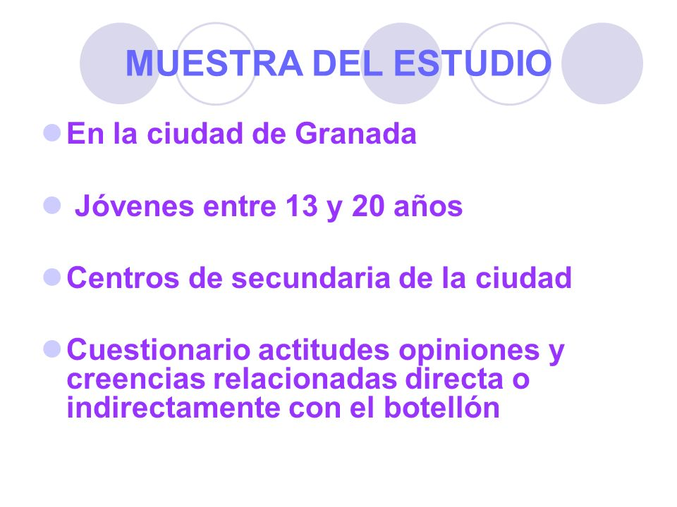 MUESTRA DEL ESTUDIO En la ciudad de Granada Jóvenes entre 13 y 20 años Centros de secundaria de la ciudad Cuestionario actitudes opiniones y creencias
