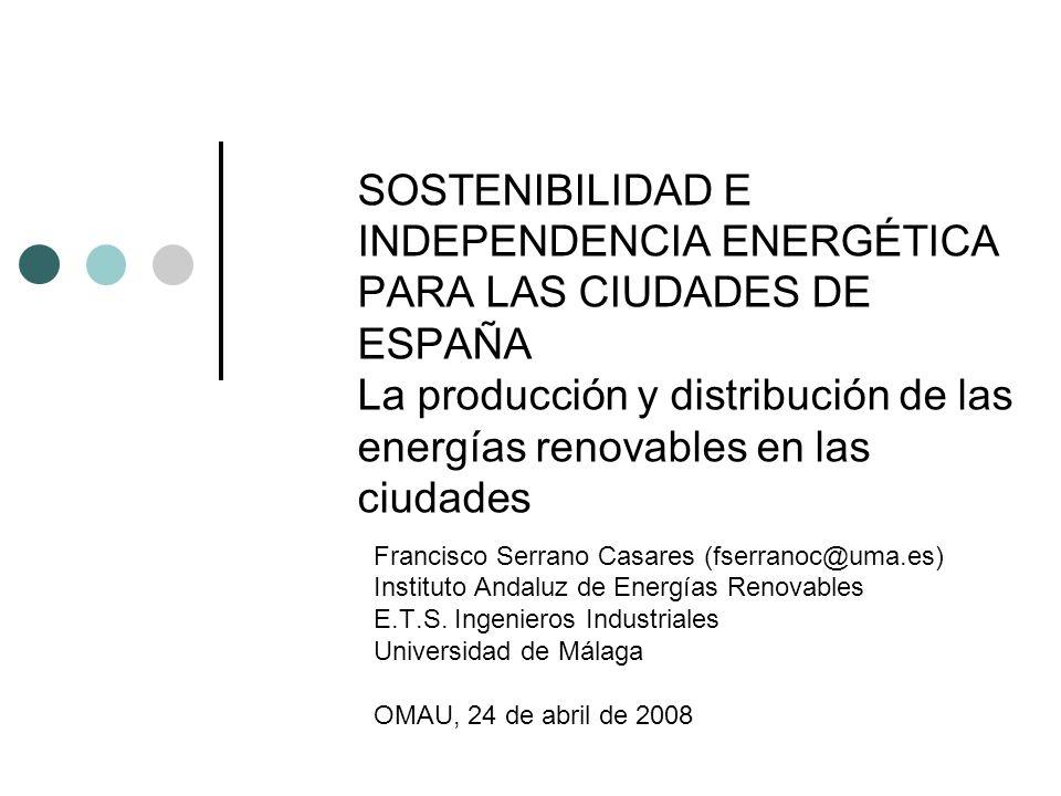 Mecanismos de ayuda a las energías renovables Subvenciones a las instalaciones Estatales (ICO-IDAE) Autonómicas (Programa de incentivos-PROSOL en Andalucía) Primas a la producción eléctrica Eólica Solar (fotovoltaica y térmica alta-media temperatura) Biomasa Desgravaciones en el impuesto de sociedades