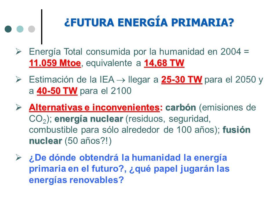 ¿FUTURA ENERGÍA PRIMARIA? 11.059 Mtoe14,68 TW Energía Total consumida por la humanidad en 2004 = 11.059 Mtoe, equivalente a 14,68 TW 25-30 TW 40-50 TW