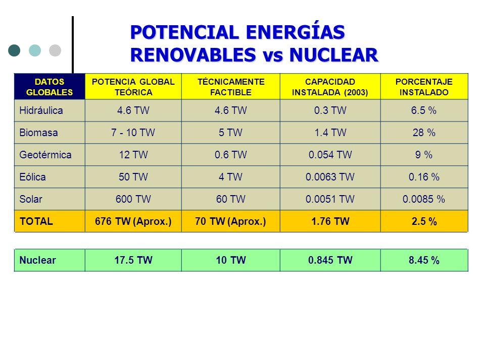 DATOS GLOBALES POTENCIA GLOBAL TEÓRICA TÉCNICAMENTE FACTIBLE CAPACIDAD INSTALADA (2003) PORCENTAJE INSTALADO Hidráulica4.6 TW 0.3 TW6.5 % Biomasa7 - 1