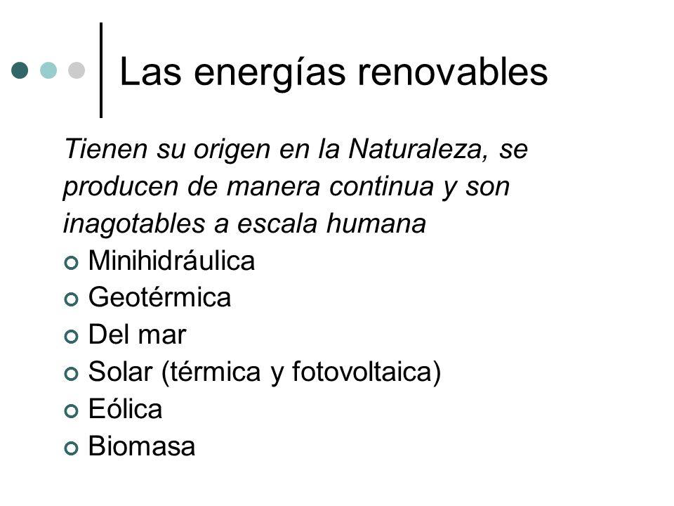 Las energías renovables Tienen su origen en la Naturaleza, se producen de manera continua y son inagotables a escala humana Minihidráulica Geotérmica