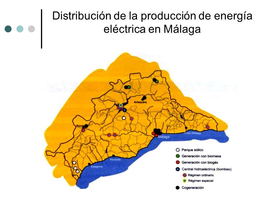 Distribución de la producción de energía eléctrica en Málaga