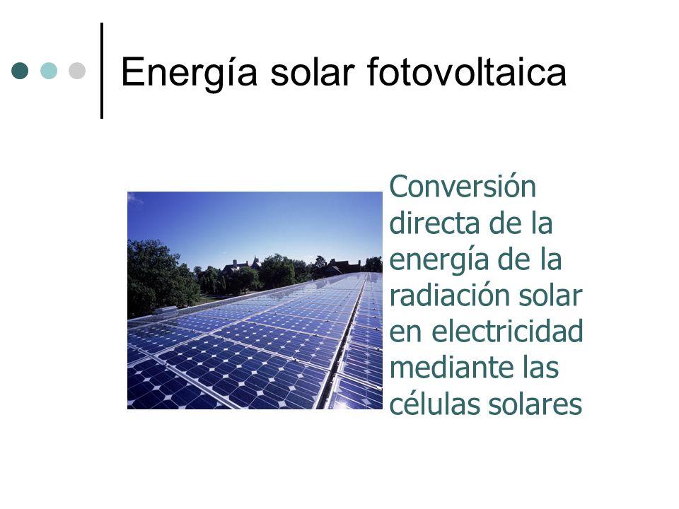Energía solar fotovoltaica Conversión directa de la energía de la radiación solar en electricidad mediante las células solares