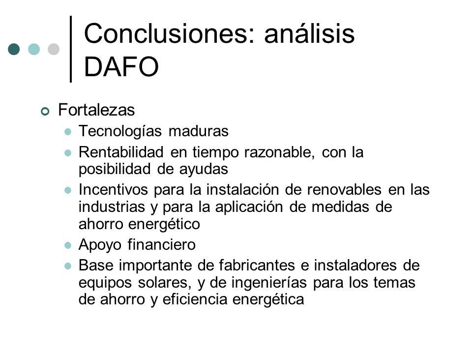Conclusiones: análisis DAFO Fortalezas Tecnologías maduras Rentabilidad en tiempo razonable, con la posibilidad de ayudas Incentivos para la instalaci