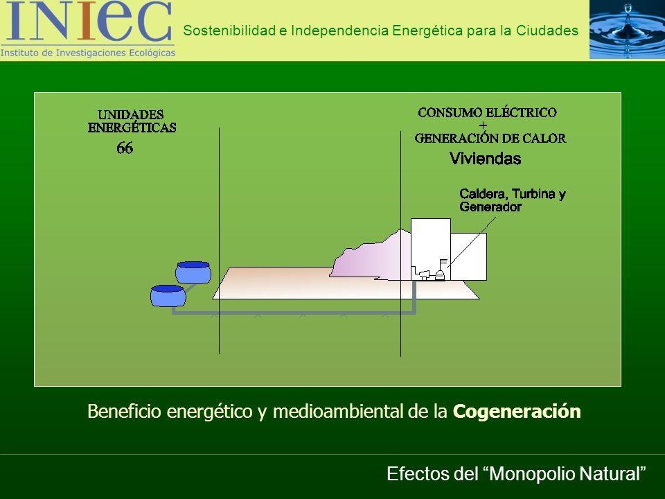 Sostenibilidad e Independencia Energética para la Ciudades Potencia Instalada de Cogeneración en España (MW) 1990199119921993199419951996199719981999200020012002200320042005 3565976481150144117592350272836714190493153465576566057865789 Efectos del Monopolio Natural