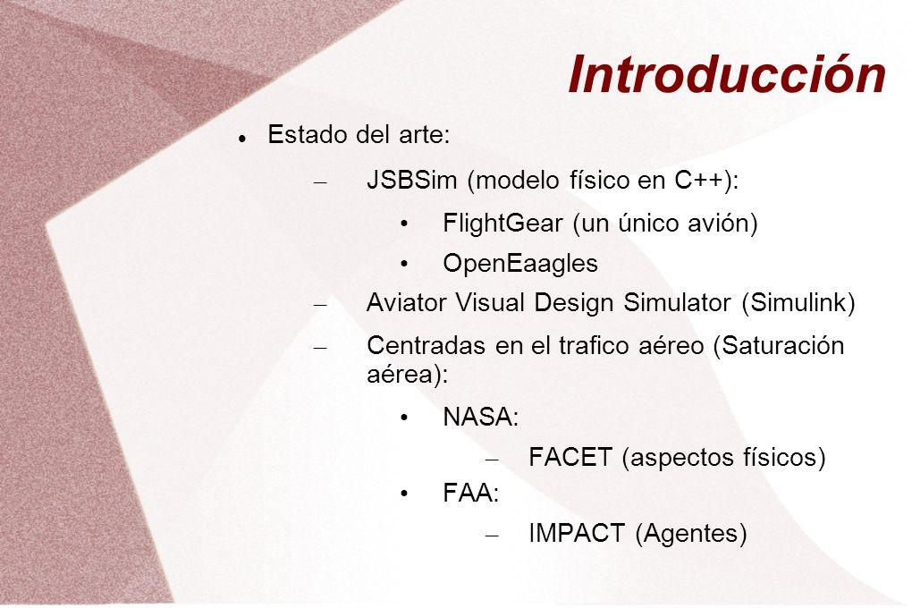Introducción Estado del arte: – JSBSim (modelo físico en C++): FlightGear (un único avión) OpenEaagles – Aviator Visual Design Simulator (Simulink) – Centradas en el trafico aéreo (Saturación aérea): NASA: – FACET (aspectos físicos) FAA: – IMPACT (Agentes)