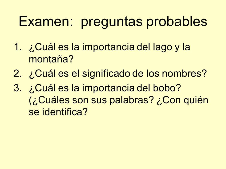 Examen: preguntas probables 1.¿Cuál es la importancia del lago y la montaña? 2.¿Cuál es el significado de los nombres? 3.¿Cuál es la importancia del b