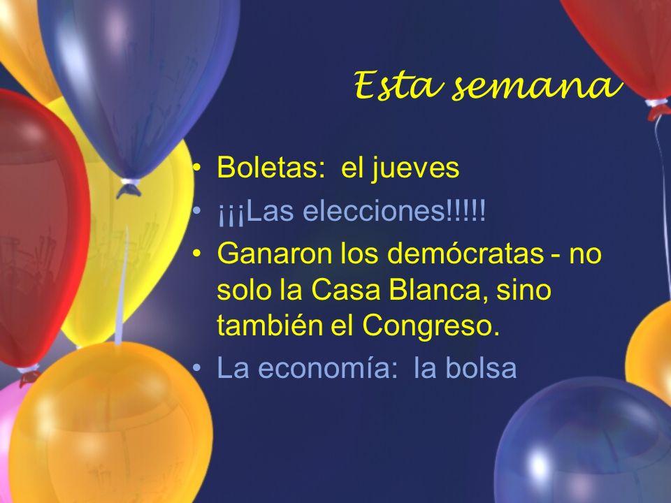 Esta semana Boletas: el jueves ¡¡¡Las elecciones!!!!.