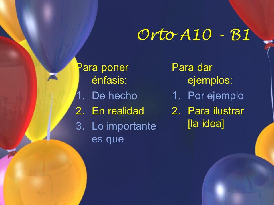 Orto A10 - B1 Para poner énfasis: 1.De hecho 2.En realidad 3.Lo importante es que Para dar ejemplos: 1.Por ejemplo 2.Para ilustrar [la idea]