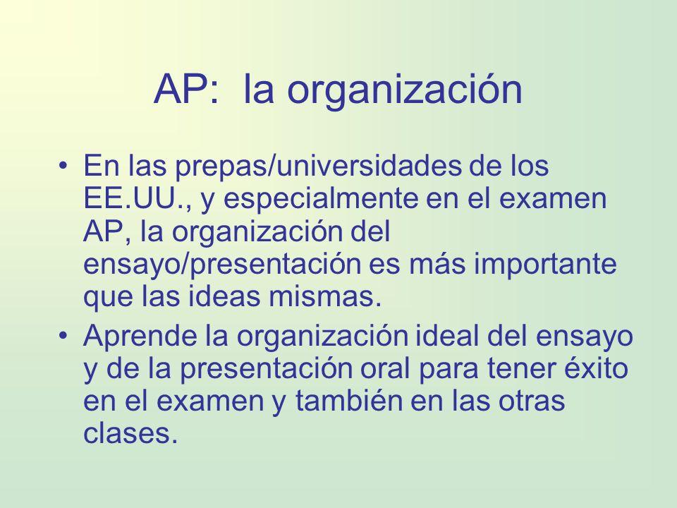 AP: la organización En las prepas/universidades de los EE.UU., y especialmente en el examen AP, la organización del ensayo/presentación es más importa