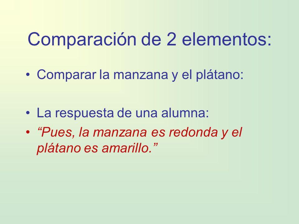 Comparación de 2 elementos: Comparar la manzana y el plátano: La respuesta de una alumna: Pues, la manzana es redonda y el plátano es amarillo.