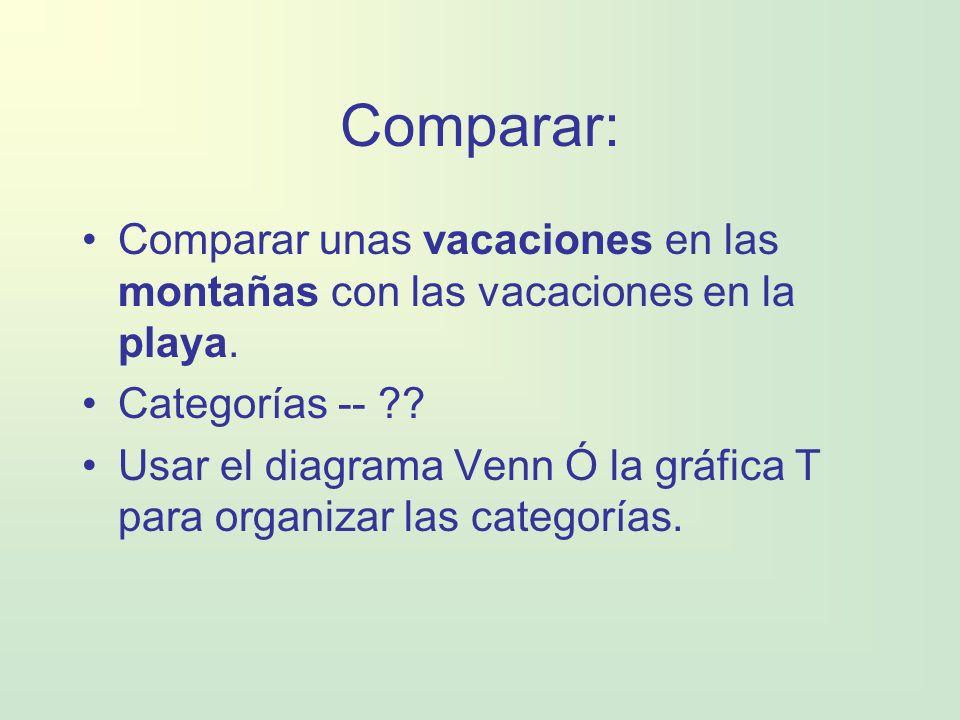 Comparar: Comparar unas vacaciones en las montañas con las vacaciones en la playa. Categorías -- ?? Usar el diagrama Venn Ó la gráfica T para organiza