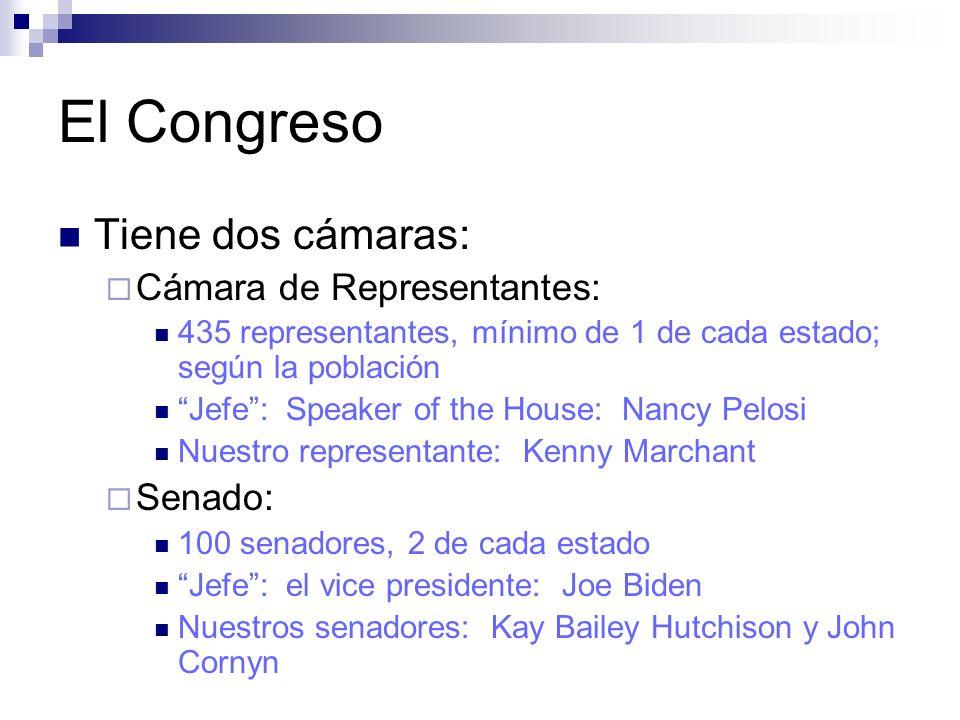 El Congreso Tiene dos cámaras: Cámara de Representantes: 435 representantes, mínimo de 1 de cada estado; según la población Jefe: Speaker of the House: Nancy Pelosi Nuestro representante: Kenny Marchant Senado: 100 senadores, 2 de cada estado Jefe: el vice presidente: Joe Biden Nuestros senadores: Kay Bailey Hutchison y John Cornyn