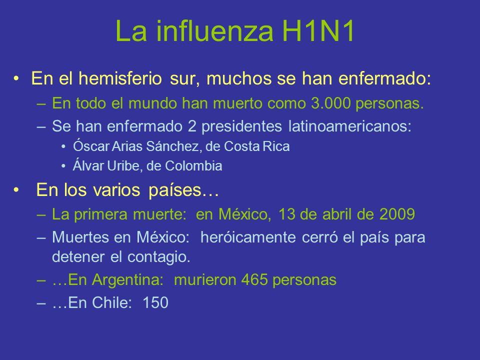 La influenza H1N1 En el hemisferio sur, muchos se han enfermado: –En todo el mundo han muerto como 3.000 personas. –Se han enfermado 2 presidentes lat