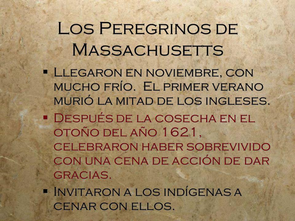 Los Peregrinos de Massachusetts Llegaron en noviembre, con mucho frío. El primer verano murió la mitad de los ingleses. Después de la cosecha en el ot