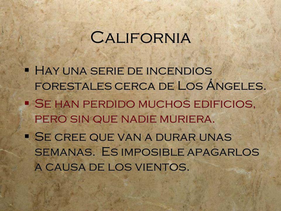California Hay una serie de incendios forestales cerca de Los Ángeles. Se han perdido muchos edificios, pero sin que nadie muriera. Se cree que van a