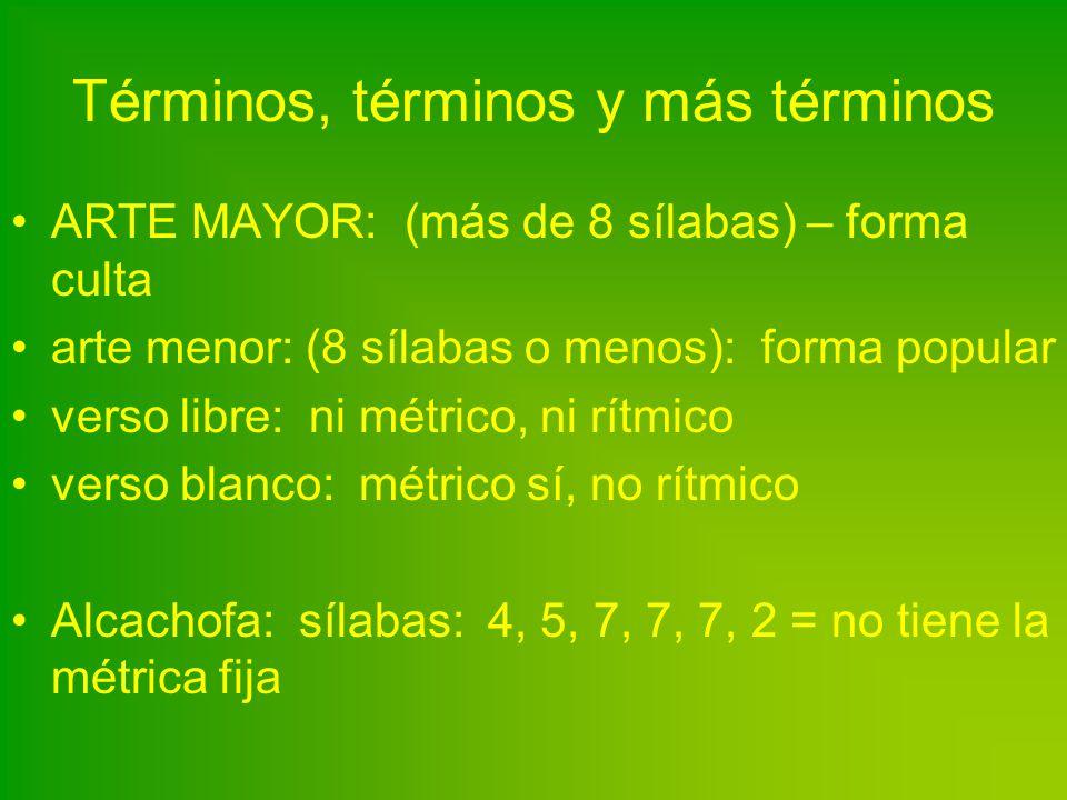 Términos, términos y más términos ARTE MAYOR: (más de 8 sílabas) – forma culta arte menor: (8 sílabas o menos): forma popular verso libre: ni métrico,