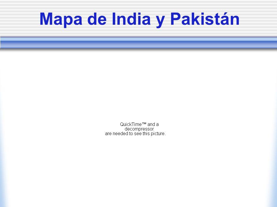 Mapa de India y Pakistán