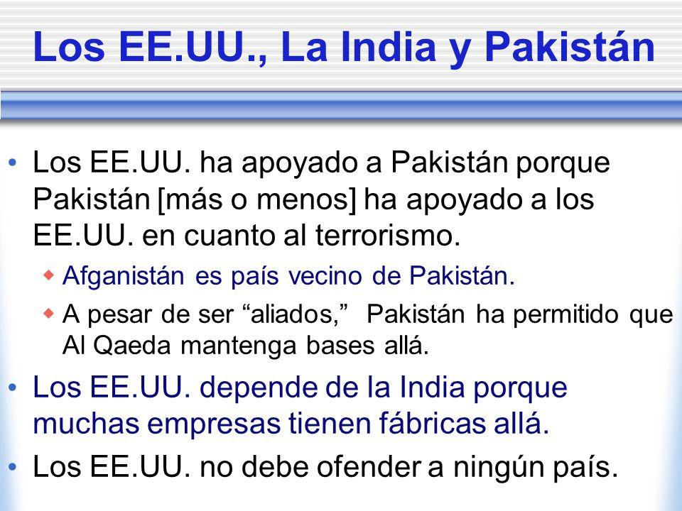 Los EE.UU., La India y Pakistán Los EE.UU. ha apoyado a Pakistán porque Pakistán [más o menos] ha apoyado a los EE.UU. en cuanto al terrorismo. Afgani