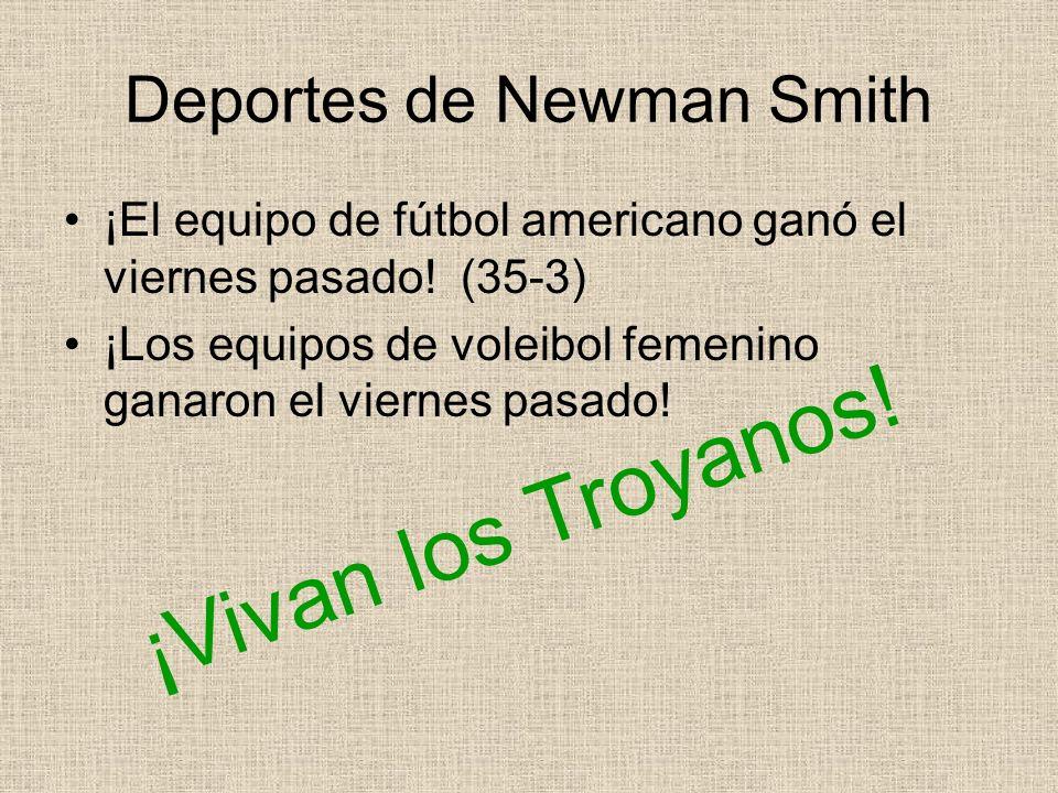 Deportes de Newman Smith ¡El equipo de fútbol americano ganó el viernes pasado! (35-3) ¡Los equipos de voleibol femenino ganaron el viernes pasado! ¡V
