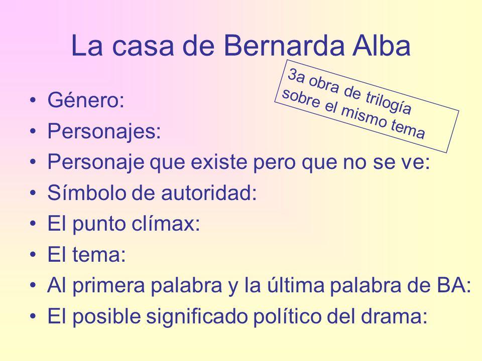 La casa de Bernarda Alba Género: Personajes: Personaje que existe pero que no se ve: Símbolo de autoridad: El punto clímax: El tema: Al primera palabr
