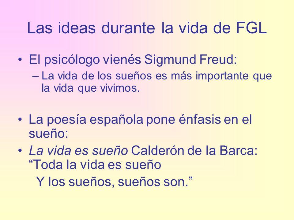 Las ideas durante la vida de FGL El psicólogo vienés Sigmund Freud: –La vida de los sueños es más importante que la vida que vivimos. La poesía españo