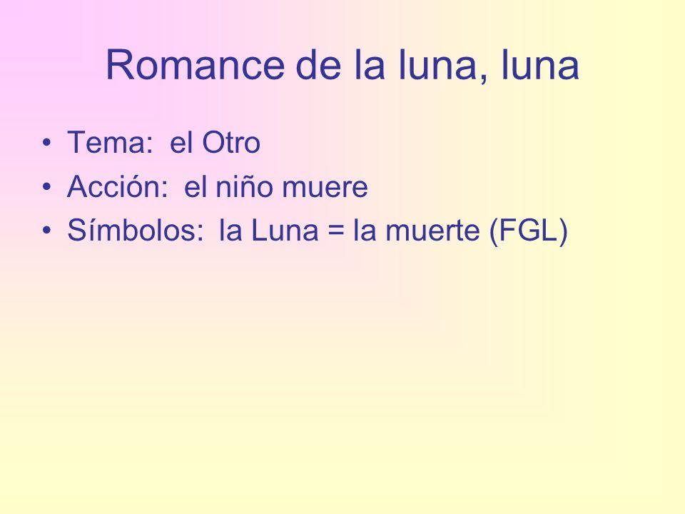 Romance de la luna, luna Tema: el Otro Acción: el niño muere Símbolos: la Luna = la muerte (FGL)