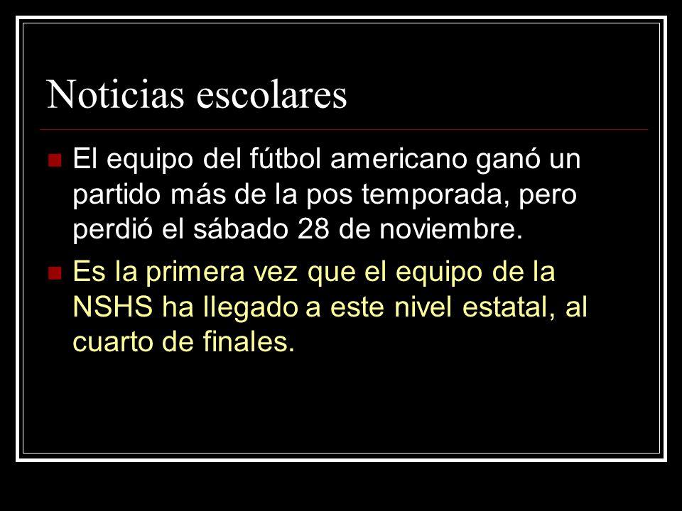 Noticias escolares El equipo del fútbol americano ganó un partido más de la pos temporada, pero perdió el sábado 28 de noviembre. Es la primera vez qu