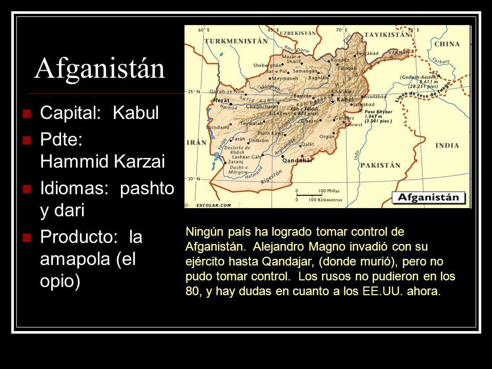 Afganistán Capital: Kabul Pdte: Hammid Karzai Idiomas: pashto y dari Producto: la amapola (el opio) Ningún país ha logrado tomar control de Afganistán