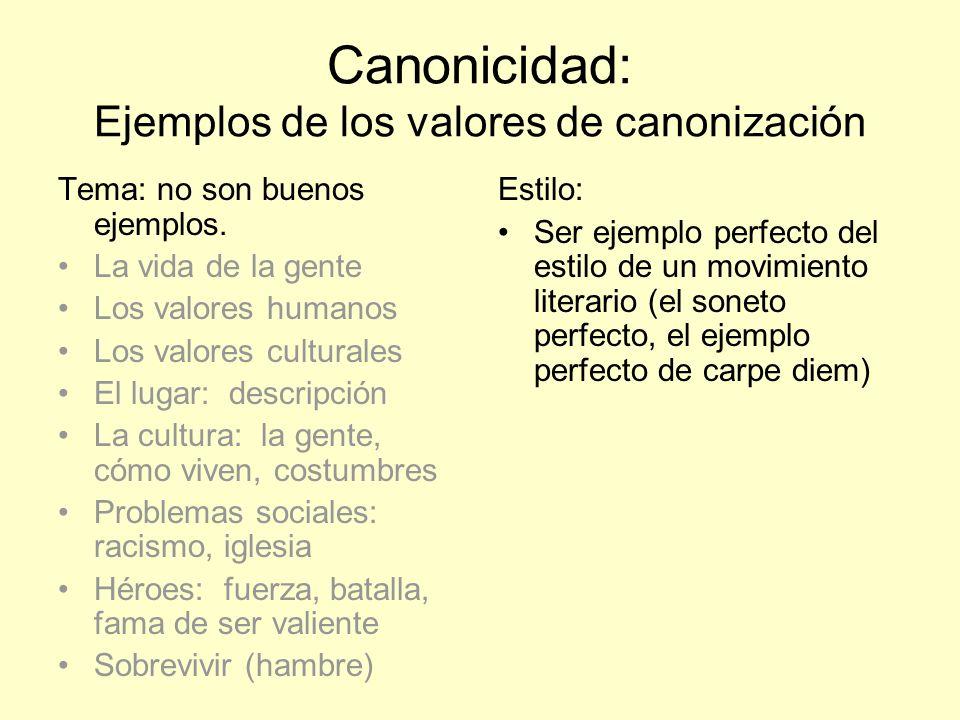 Canonicidad: Ejemplos de los valores de canonización Tema: no son buenos ejemplos. La vida de la gente Los valores humanos Los valores culturales El l