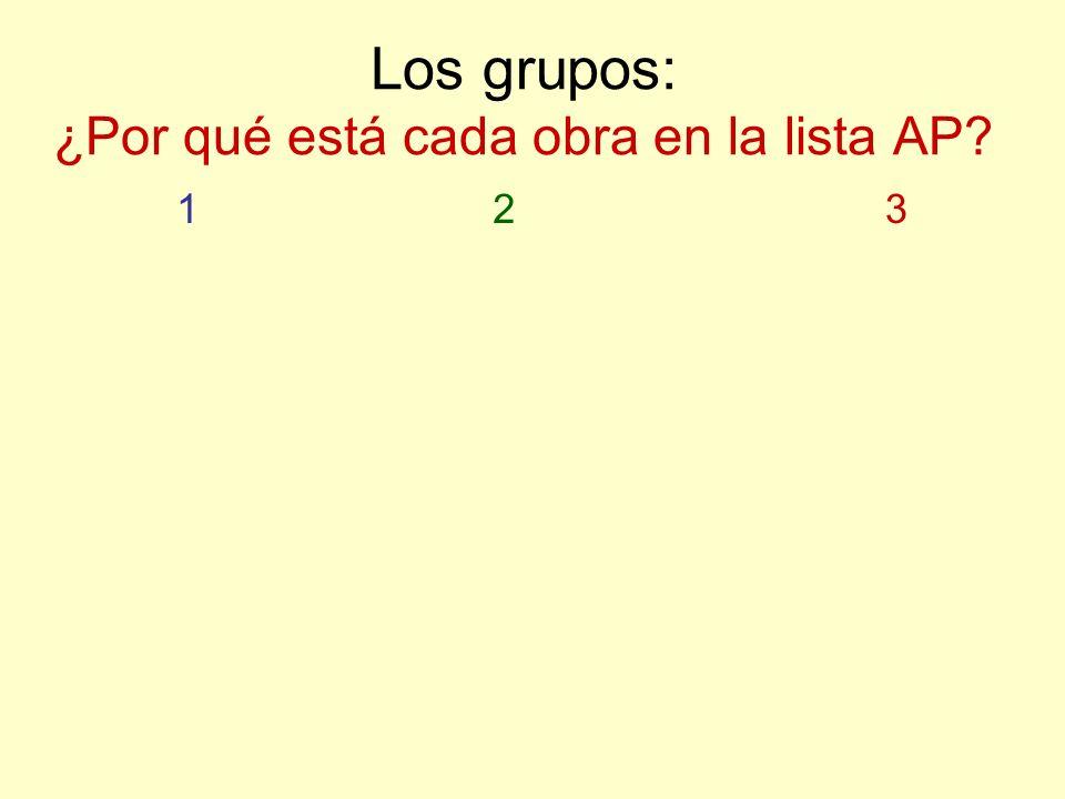 Los grupos: ¿Por qué está cada obra en la lista AP? 123