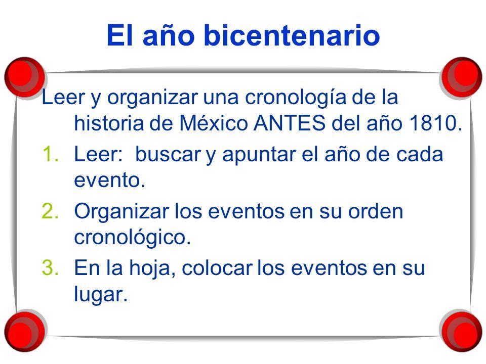 El año bicentenario Leer y organizar una cronología de la historia de México ANTES del año 1810. 1.Leer: buscar y apuntar el año de cada evento. 2.Org