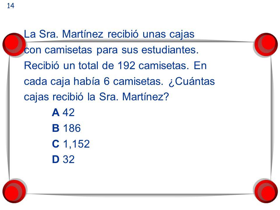 La Sra. Martínez recibió unas cajas con camisetas para sus estudiantes. Recibió un total de 192 camisetas. En cada caja había 6 camisetas. ¿Cuántas ca