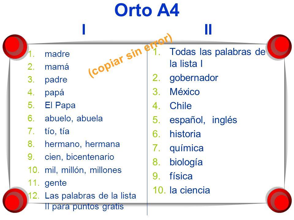 Orto A4 I II 1.madre 2.mamá 3.padre 4.papá 5.El Papa 6.abuelo, abuela 7.tío, tía 8.hermano, hermana 9.cien, bicentenario 10.mil, millón, millones 11.g