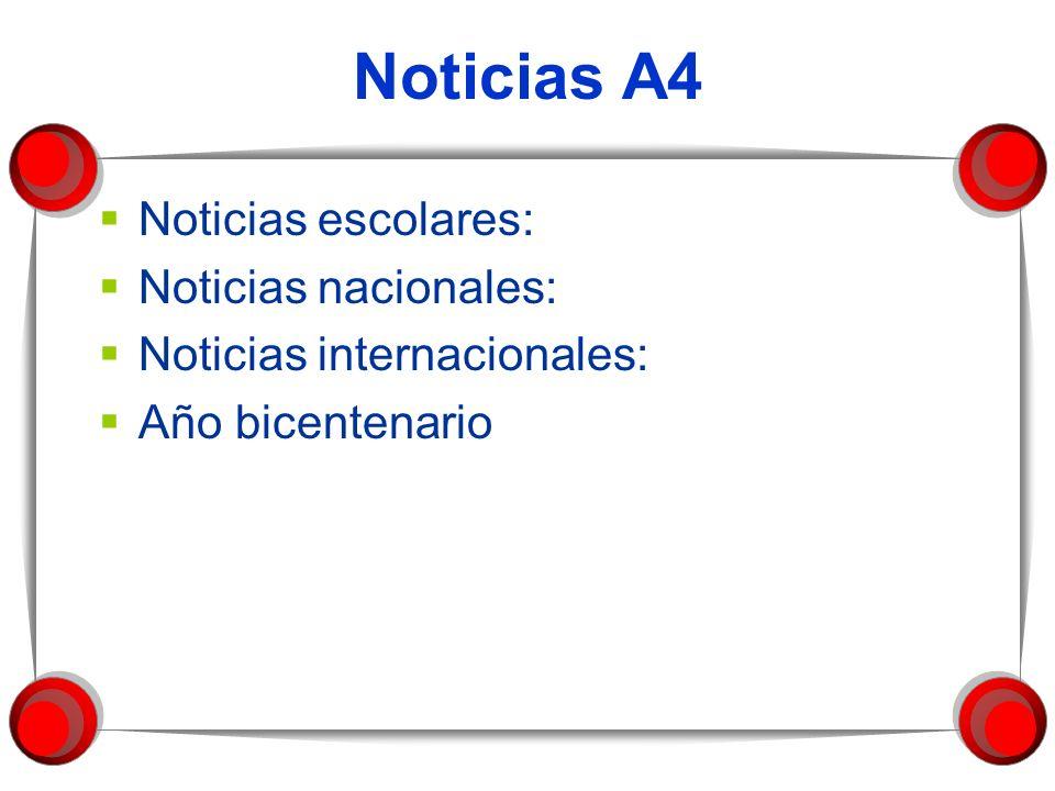 Noticias A4 Noticias escolares: Noticias nacionales: Noticias internacionales: Año bicentenario