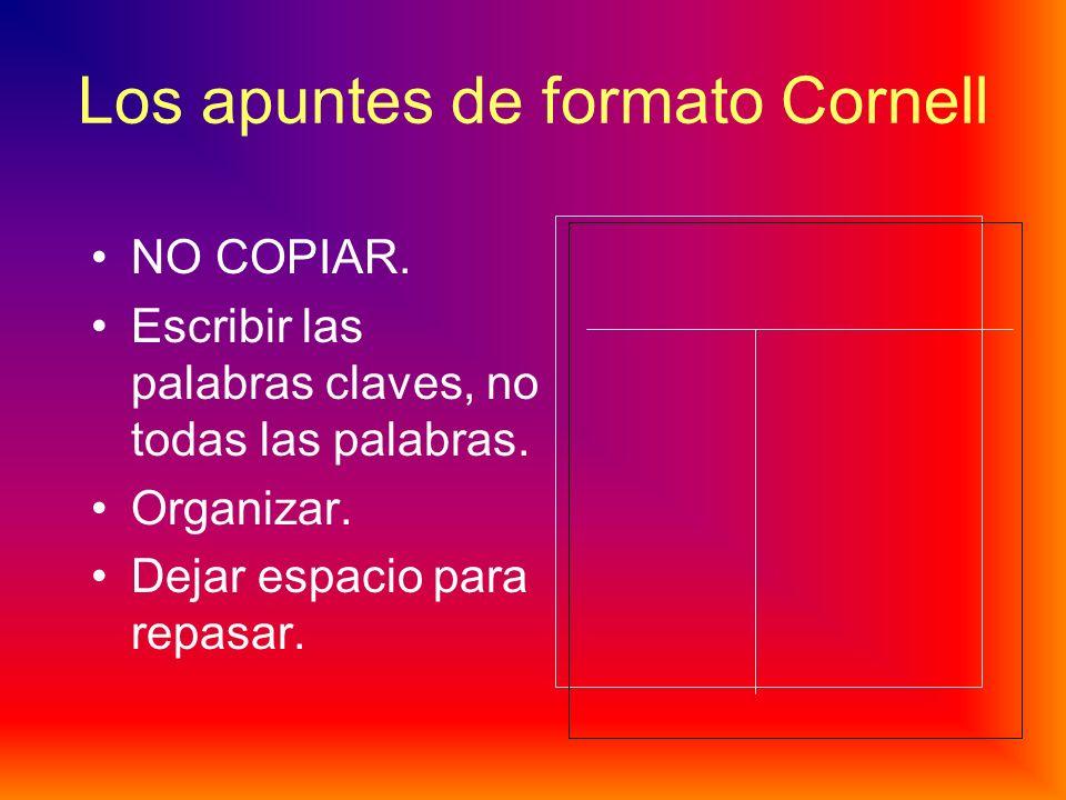 Para sacar apuntes: El formato Cornell: Sacar APUNTES (=no lo copiar todo; sólo las palabras claves) Título (A1, A2, etc) y fecha en cada hoja Separar