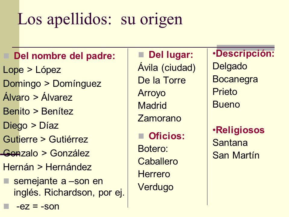 Los apellidos: su origen Del nombre del padre: Lope > López Domingo > Domínguez Álvaro > Álvarez Benito > Benítez Diego > Díaz Gutierre > Gutiérrez Go