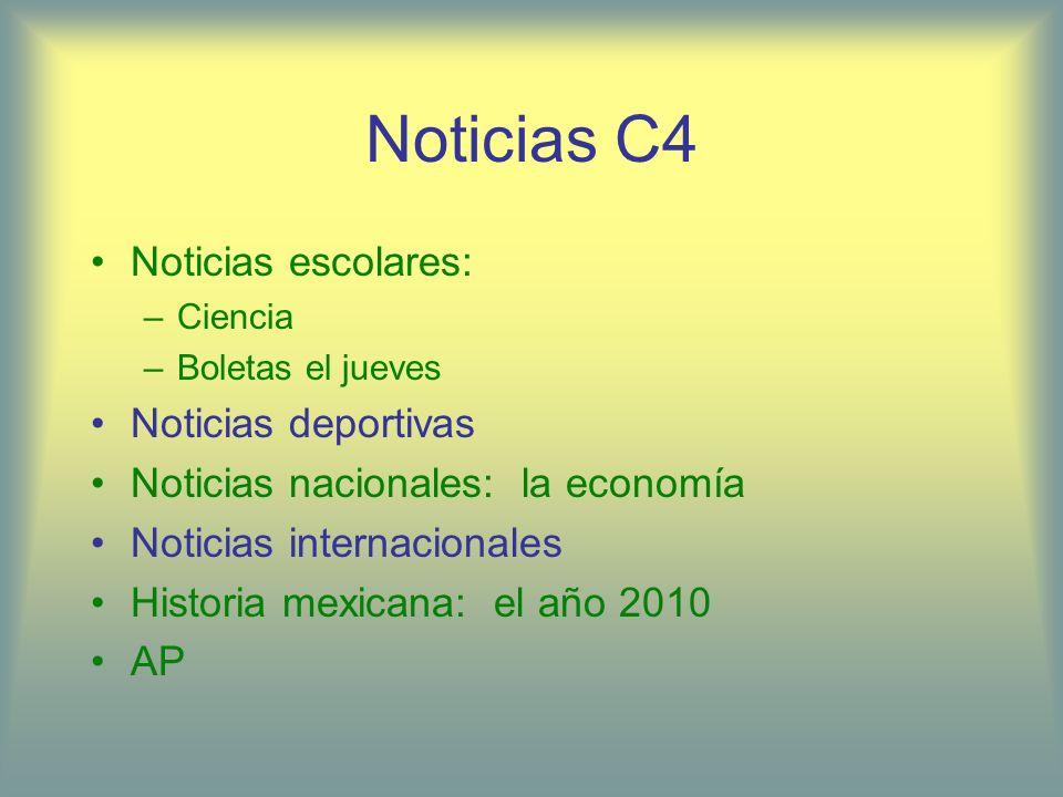 Noticias C4 Noticias escolares: –Ciencia –Boletas el jueves Noticias deportivas Noticias nacionales: la economía Noticias internacionales Historia mex