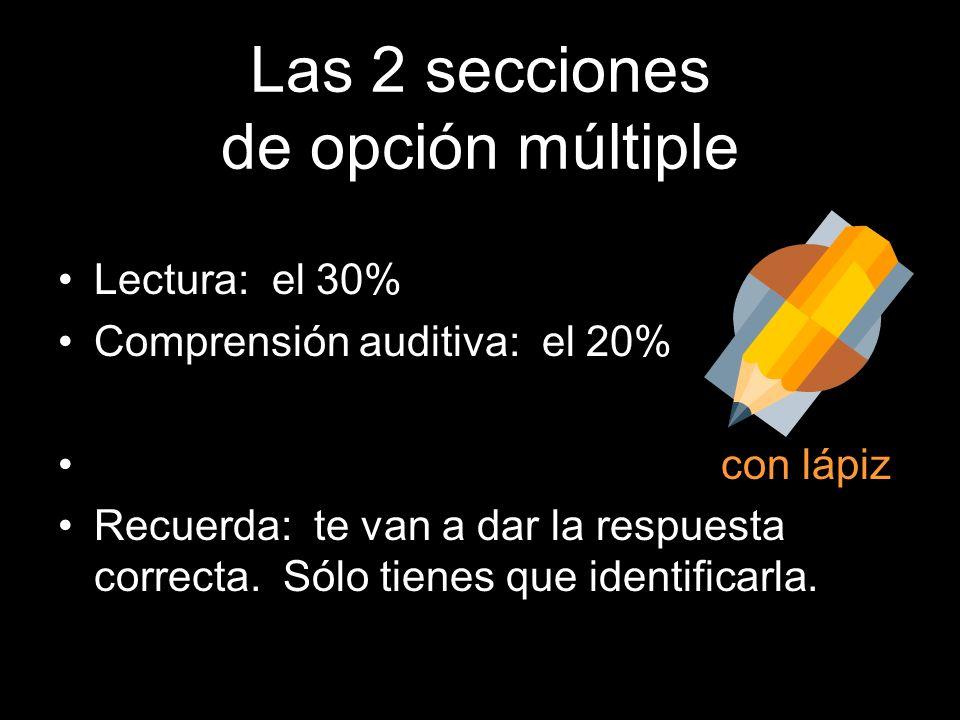 Las secciones del AP Es decir: el 50%: de opción múltiple lectura (30%) y comprensión (20%) La otra mitad: Escrito Grabado Formal Ensayo (20%) Present