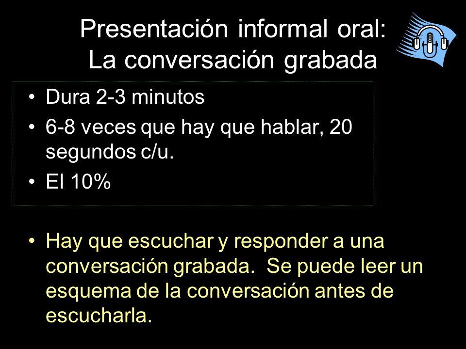 Conversación simulada ¡ Ya sabes hablar español! Ahora, tu meta es lucir para que los otros vean que sabes platicar.