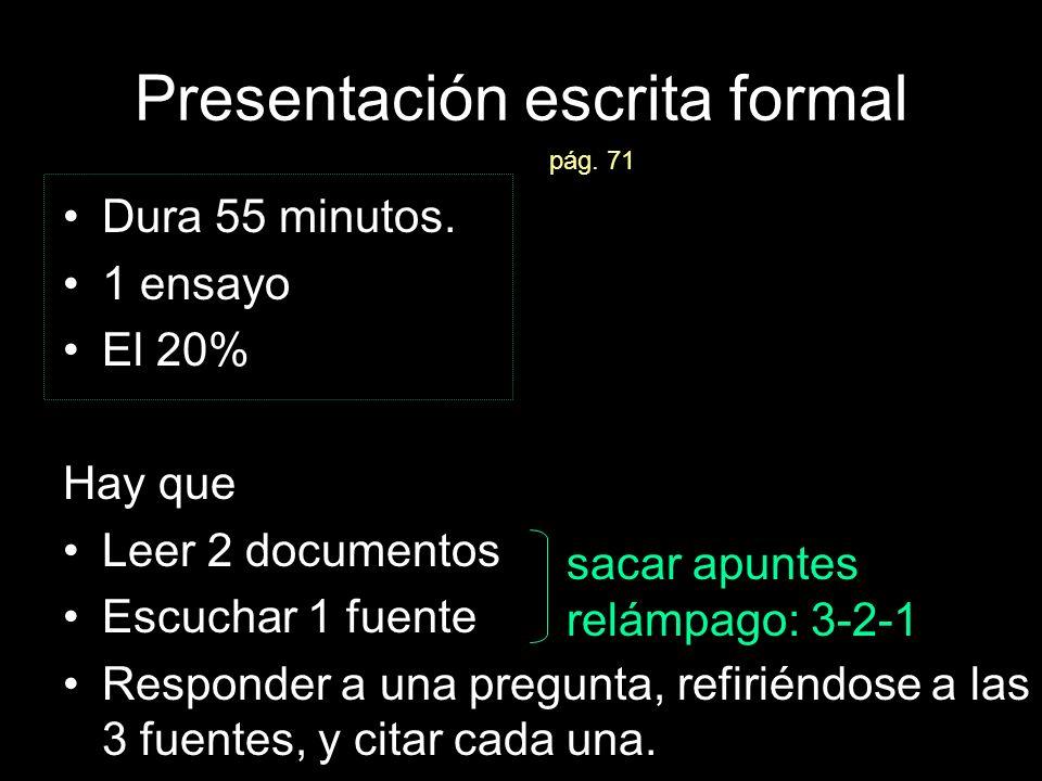 Las presentaciones formales Lo más importante: la síntesis –Síntesis (verbo: sintetizar) = combinar –En el AP, significa combinar las ideas tuyas con