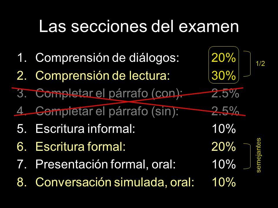 Las secciones del examen 1.Comprensión de diálogos:20% 2.Comprensión de lectura:30% 3.Completar el párrafo (con):2.5% 4.Completar el párrafo (sin):2.5% 5.Escritura informal:10% 6.Escritura formal:20% 7.Presentación formal, oral:10% 8.Conversación simulada, oral:10% 1/2 semejantes
