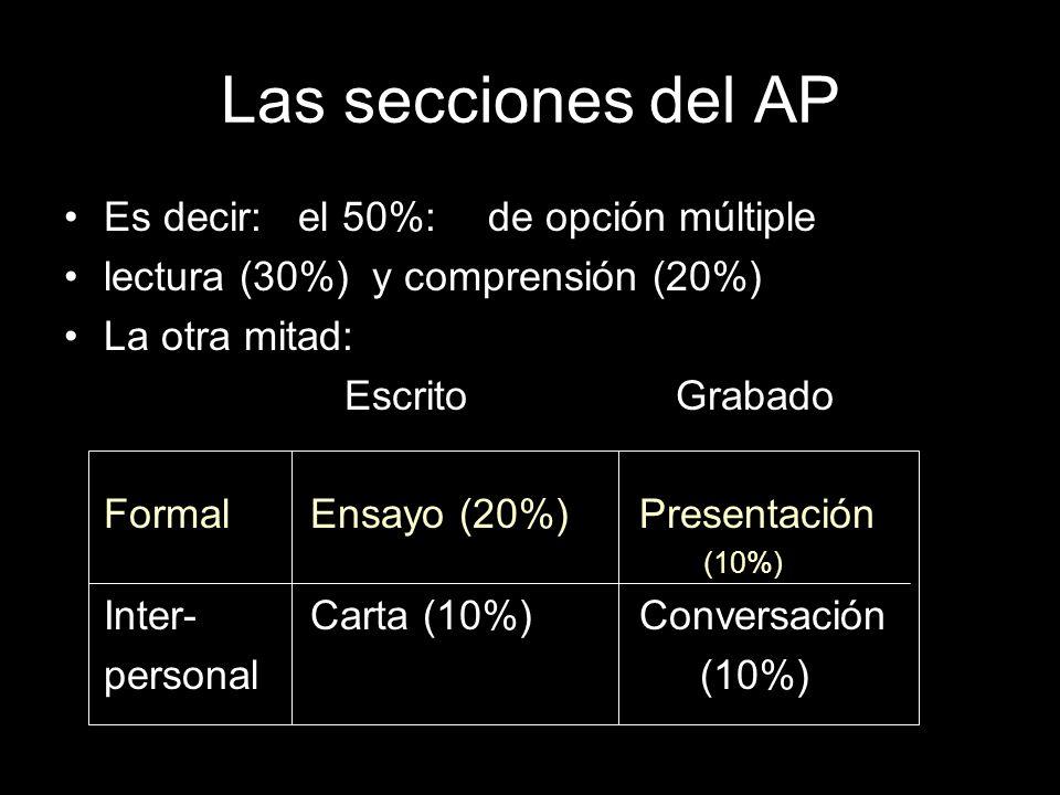 Las secciones del AP Es decir: el 50%: de opción múltiple lectura (30%) y comprensión (20%) La otra mitad: Escrito Grabado Formal Ensayo (20%) Presentación (10%) Inter- Carta (10%) Conversación personal(10%)