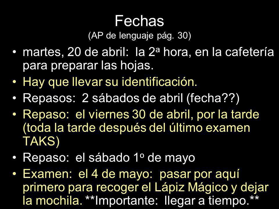 Fechas (AP de lenguaje pág.