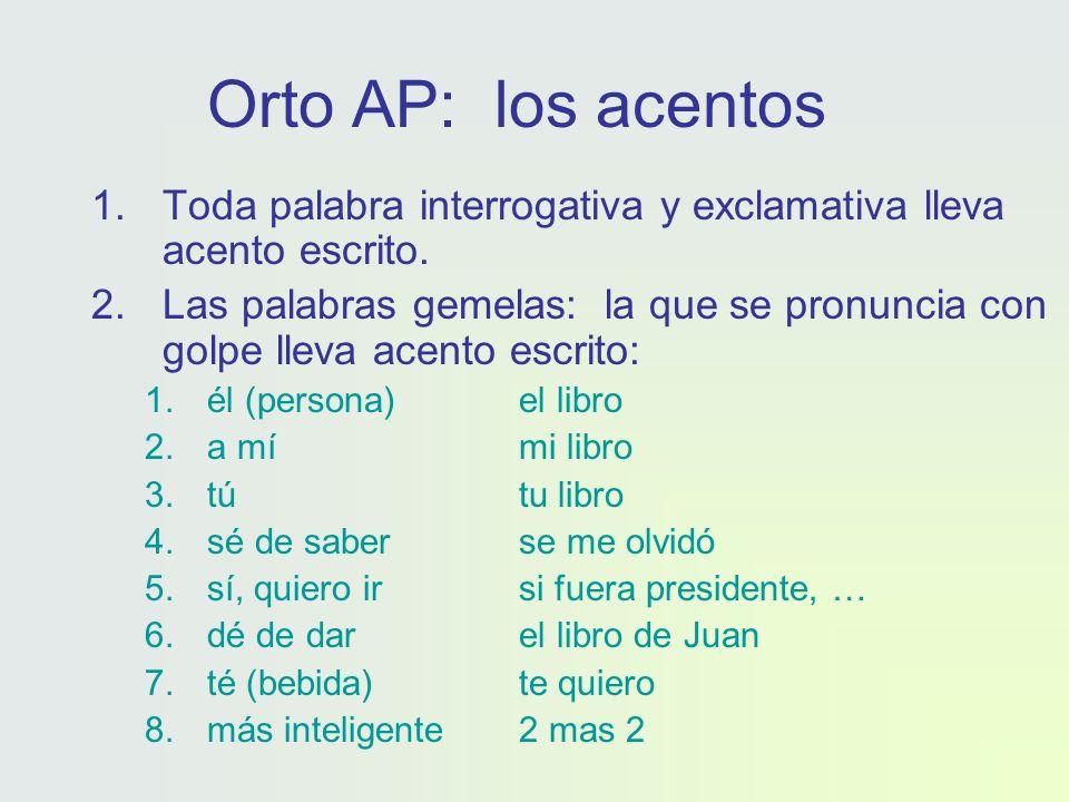 Orto AP: los acentos 1.Toda palabra interrogativa y exclamativa lleva acento escrito.