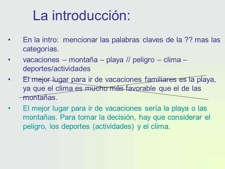 La introducción: En la intro: mencionar las palabras claves de la .