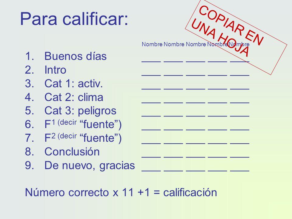 Para calificar: Nombre Nombre Nombre Nombre Nombre 1.Buenos días___ ___ ___ ___ ___ 2.Intro___ ___ ___ ___ ___ 3.Cat 1: activ.___ ___ ___ ___ ___ 4.Cat 2: clima___ ___ ___ ___ ___ 5.Cat 3: peligros___ ___ ___ ___ ___ 6.F 1 (decir fuente)___ ___ ___ ___ ___ 7.F 2 (decir fuente) ___ ___ ___ ___ ___ 8.Conclusión___ ___ ___ ___ ___ 9.De nuevo, gracias___ ___ ___ ___ ___ Número correcto x 11 +1 = calificación COPIAR EN UNA HOJA
