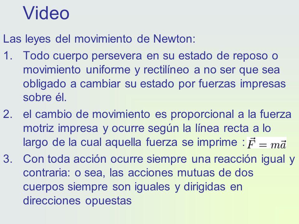 Video Las leyes del movimiento de Newton: 1.Todo cuerpo persevera en su estado de reposo o movimiento uniforme y rectilíneo a no ser que sea obligado a cambiar su estado por fuerzas impresas sobre él.