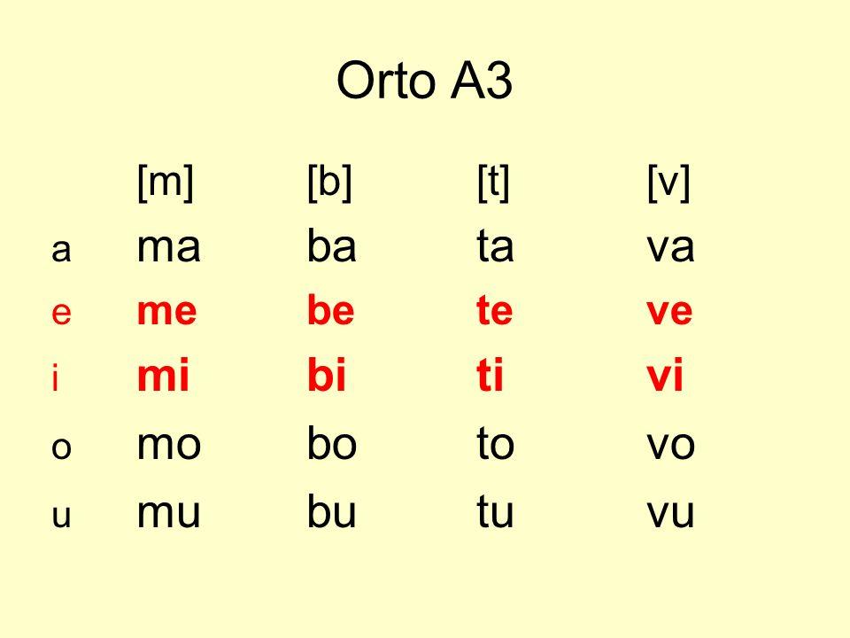 Orto A3 [m][b][t][v] a mabatava e mebeteve i mibitivi o mobotovo u mubutuvu